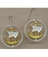 "Cyprus 5 mils ""Viking ship"" 2 Toned Gold and Silver, cut coin jewelry ... - $106.00"