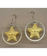 "Bahamas 1 cent ""Starfish"" Gold and Silver Cut Coin Jewelry Earrings - $99.00"