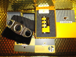 COHIBA  Stainless Steel Dual Blades Cigar Cutter & Lighter in boxes - $81.23