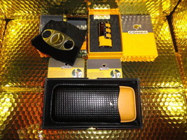 COHIBA  Stainless Steel Dual Blades Cigar Cutter , lighter and cigar case - $166.73