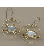 "Guernsey penny ""Crab""  2 toned Gold on Silver cut coin earrings - $106.00"