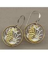 "Singapore 10 cent ""Seahorse & Sea weed"",gold on silver cut coin earrings - $126.00"