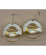 New Jefferson nickel (Peace Medal) (2004),Gold and Silver Cut Coin Earr... - $86.00