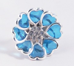 One New Blue Heart Stretch Ring With Genuine Crystals #R1067 - $4.99
