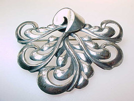 Huge Vintage MONET Sterling Silver Brooch Pin - 2 1/4 inches - $58.00