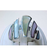 Huge MOTHER of PEARL Ring in Sterling Silver - Size 10 - Multi-colored - $65.00