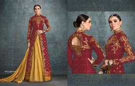 Maroon New Split Cut Embroidered Golden Lehenga Skirt Salwar Kameez Suit 7709 - $105.84