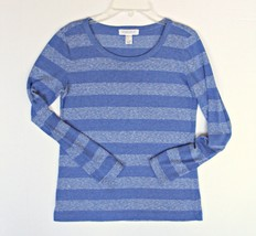Forever 21 Striped Thin Knit Top S 4 6 8 Classic Layering Blue Long Slee... - $9.89
