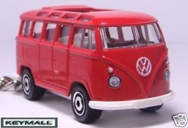 HTF KEY CHAIN RED WHITE VW VOLKSWAGEN SAMBA BUS 21 WINDOWS VOLKSWAGON VA... - $32.68