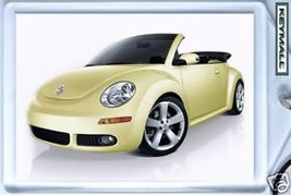 HTF KEY CHAIN YELLOW BLACK TOP VW NEW BEETLE CONVERTIBLE KEYTAG PORTE CL... - $9.95