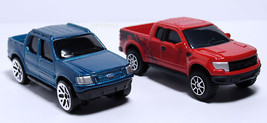 NICE LOT 2 FORD 1 F150 RAPTOR RED &  EXPLORER SPORT TRAC BLUE NEW S SCAL... - $19.98