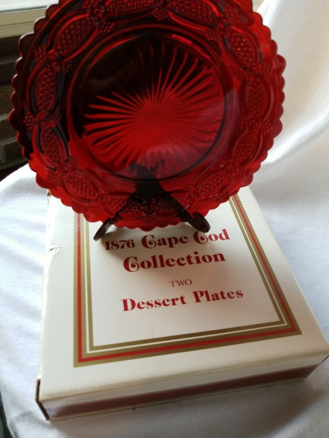 Avon Cape Cod Collection Ruby Red Two Dessert Plates