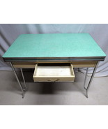 Retro Mid Century Modern Formica Draw Leaf Table Dining Room Chrome Legs... - $296.95