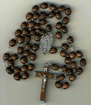 Rosary - Brown Round Wood Bead - 1014A/BROWN