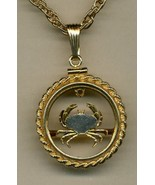 "Guernsey penny (Crab), Gold filled rope type bezel"" cut coin pendant nec... - $118.00"