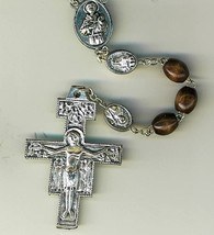 Rosary - Brown round Wood Bead - St. Francis Cross and Beads - MB-1014SF/BN image 1