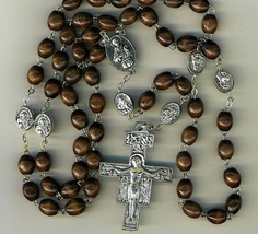 Rosary - Brown round Wood Bead - St. Francis Cross and Beads - MB-1014SF/BN