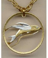 "Tuvalu 20 cent ""Flying fish"" gold & silver cut coin pendant necklace - $80.00"