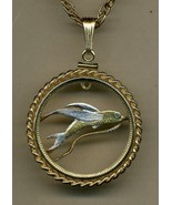 "Tuvalu 20 cent ""Flying fish""Gold & Silver cut coin pendant necklace - $146.00"