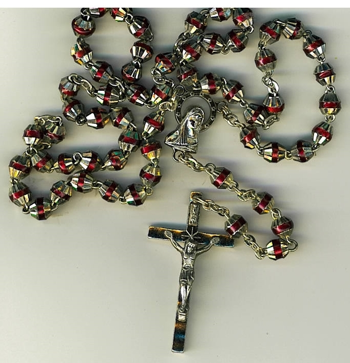 Rosary   red with capped beads 498r 003