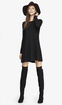 Nwt Express Black Long Sleeve Zip Back Trapeze Dress Sz M - $44.99