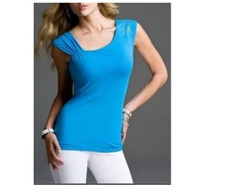 EXPRESS EMBELLISHED LUXE STRETCH ASYMMETRIC TOP Built-in shelf bra XS - $9.89