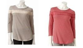 LAUREN CONRAD Striped Crochet Lace Cotton Modal Top XS - $19.99