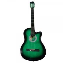 "Beginner 38"" Cutaway Folk Acoustic Guitar Green... - $52.50"