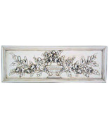 """Roses and Urn Decorative Wall Sculpture relief plaque 33.5"""" in Colonial ... - $88.11"""