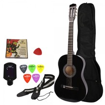 "Beginner 38"" Folk Acoustic Guitar Set Black with Extra Guitar Tuner, 38""... - $49.90"