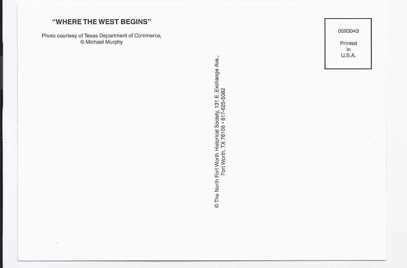"""WHERE THE WEST BEGINS"" POSTCARD, New"
