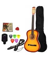 """Beginner 38"""" Folk Acoustic Guitar Set Yellow with Extra Guitar Tuner, 38... - $49.90"""