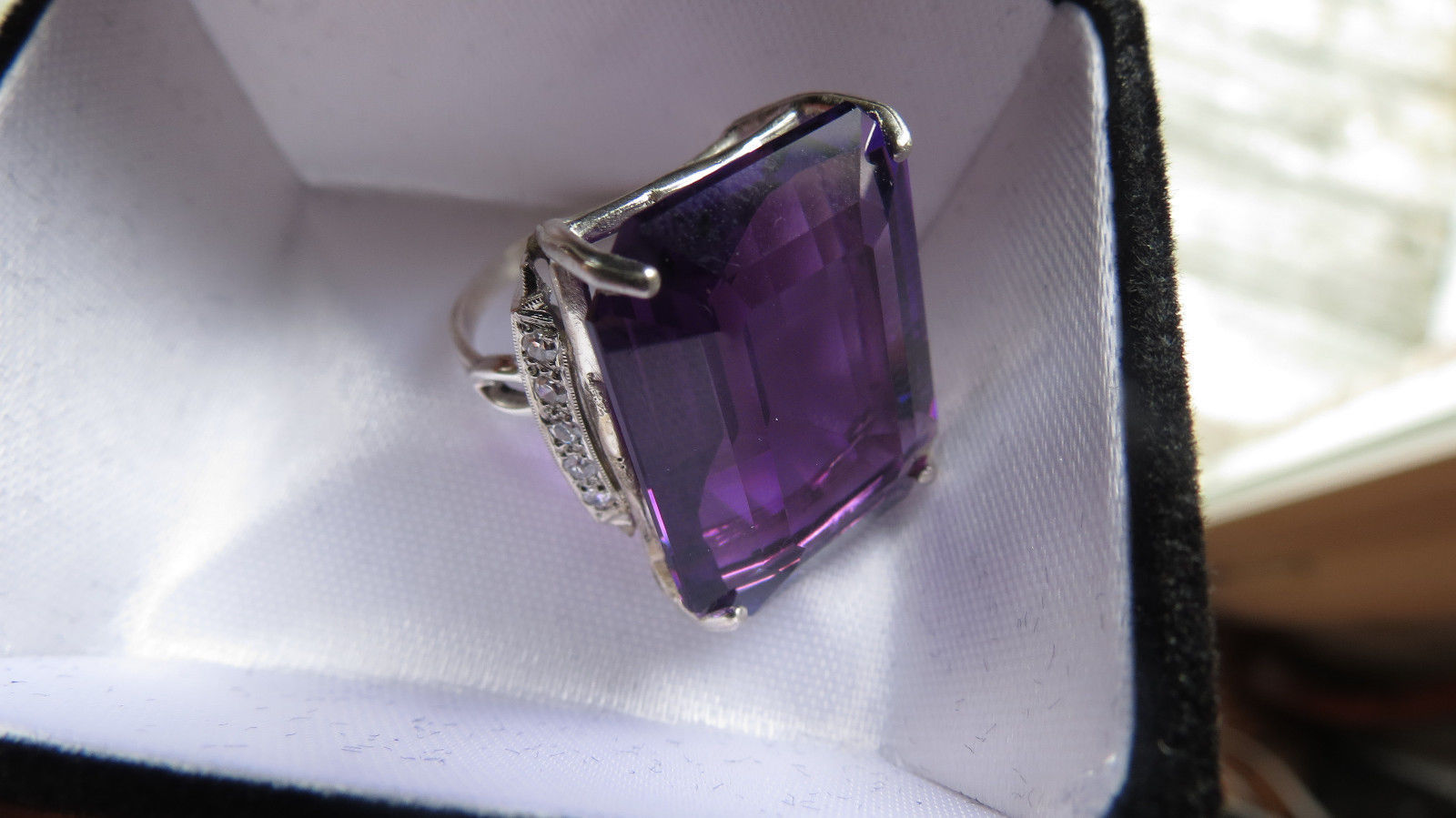 Estate Huge custom 28.5 ct Natural amethyst diamond platinum & Silver ring 6.5