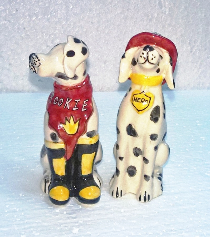 BLUE SKY Ceramic Fire Station Rookie & Hero Dalmatian Dogs Salt & Pepper Set