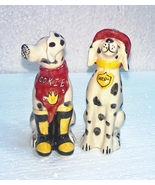 BLUE SKY Ceramic Fire Station Rookie & Hero Dalmatian Dogs Salt & Pepper... - $8.99