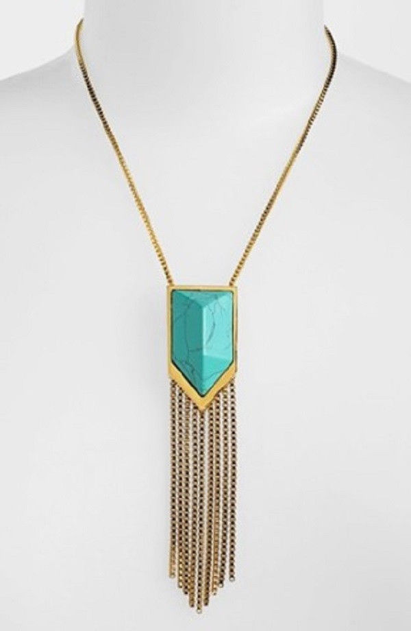 Primary image for VINCE CAMUTO GOLD-TONE CHEVRON TURQUOISE & FRINGE PENDANT NECKLACE NWT