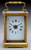 Antique British Brass Carriage Travel Mantel Clock Key Signed 1890 Roman Numeral image 2