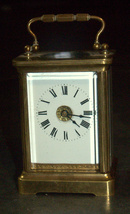 Antique British Brass Carriage Travel Mantel Clock Key Signed 1890 Roman Numeral