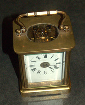 Antique British Brass Carriage Travel Mantel Clock Key Signed 1890 Roman Numeral image 3