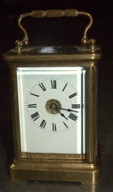 Antique British Brass Carriage Travel Mantel Clock Key Signed 1890 Roman Numeral image 4