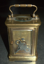 Antique British Brass Carriage Travel Mantel Clock Key Signed 1890 Roman Numeral image 5