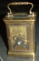 Antique British Brass Carriage Travel Mantel Clock Key Signed 1890 Roman Numeral image 8