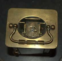 Antique British Brass Carriage Travel Mantel Clock Key Signed 1890 Roman Numeral image 11