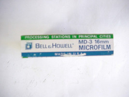 Vintage BELL & HOWELL PANCHROMATIC UNPERFORATED MD-3 MICRO FILM 16mm 100ft. - $8.90