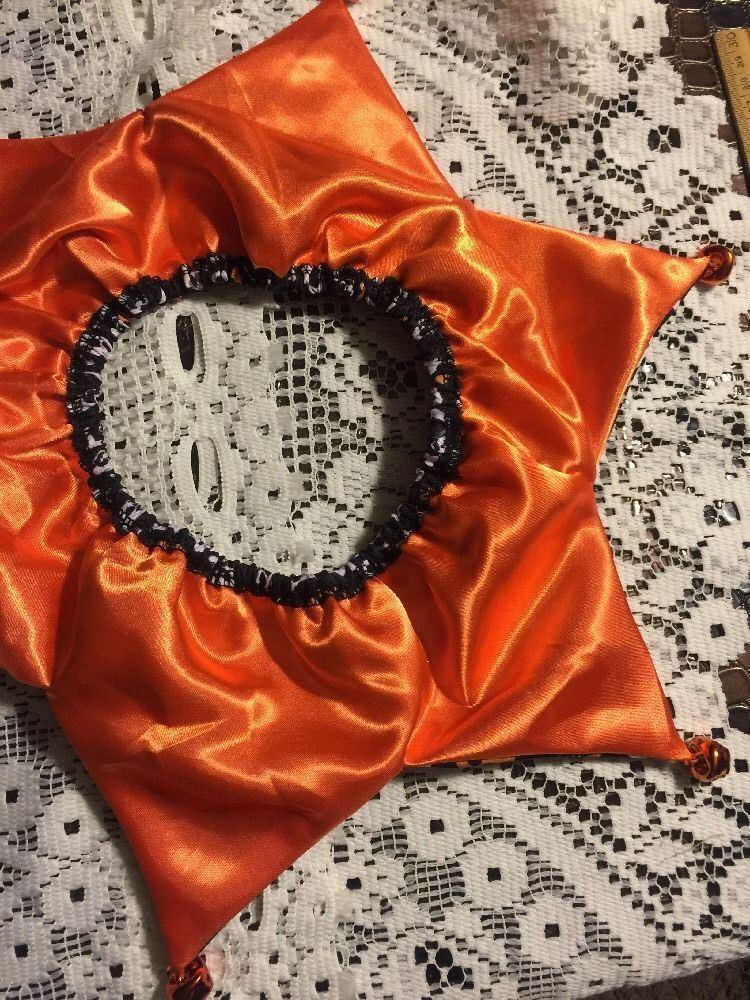 Dog Scrunchie Size M/L Orange And White Skulls Bones cool