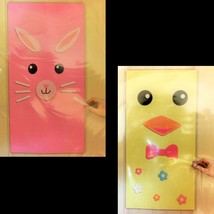 EASTER BUNNY CHICK DOOR COVER SET-Spring Party Wall Decoration Crafts Ph... - $6.90