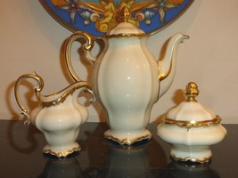 Vintage Rosenthal China Selb Germany Pompadour Baroque Gold Coffee Set - $225.00