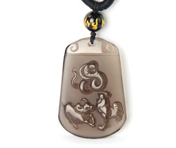 Unique natural ice Obsidian stone snake Chicken with ox  Zodiac charm pendant - $36.62