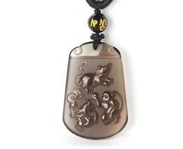 Unique natural ice Obsidian stone dragon rat with Monkey  Zodiac charm pendant - $36.62