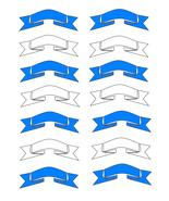 Blue White Ribbons2-Digital Download-ClipArt-Ar... - $3.00